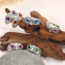 Owl, Fashion, Jewelry, 925 silver rings