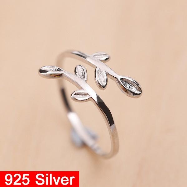 Sterling, adjustablering, Fashion, leaf