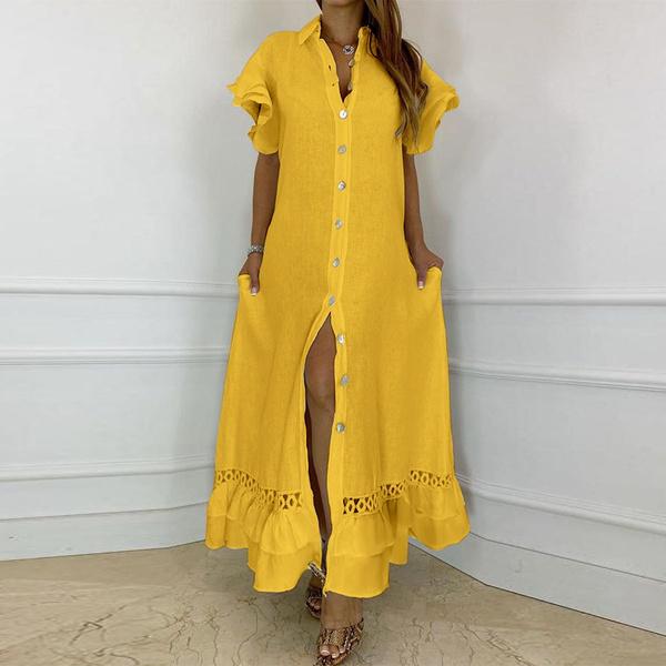 Summer, short sleeve dress, ruffle, shirtcardigan