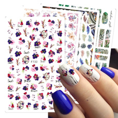 Summer, nail stickers, Flowers, foliage