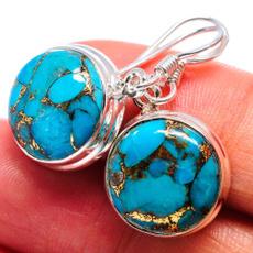 Sterling, Turquoise, Hoop Earring, 925 sterling silver