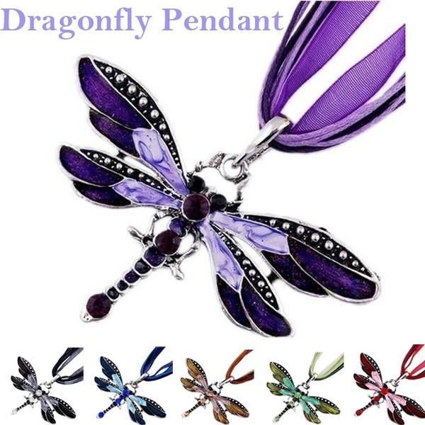 dragon fly, Jewelry, Chain, rhinestonedragonflypendantnecklace