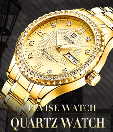 golden, Men Business Watch, Casual Watches, stainlesssteelstrapwatch