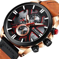 Chronograph, Fashion, leather strap, wristwatch