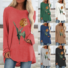 Plus Size, pullover sweater, Long Sleeve, printed shirts