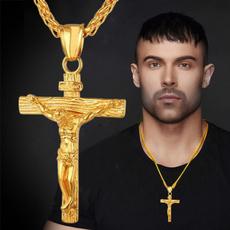 Moda masculina, Christian, Cross necklace, gold