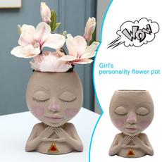 girlstatue, Funny, dollflowerpot, Flowers