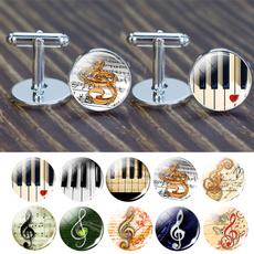 glass cufflinks, pianokeysjewelry, musicclefcufflink, Jewelry
