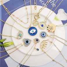 Blues, gold, women necklace, Rhinestone