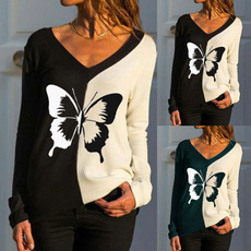 blouse, butterfly, Plus Size, Shirt