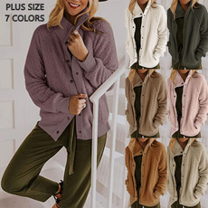 Casual Jackets, Plus Size, Winter, solid color