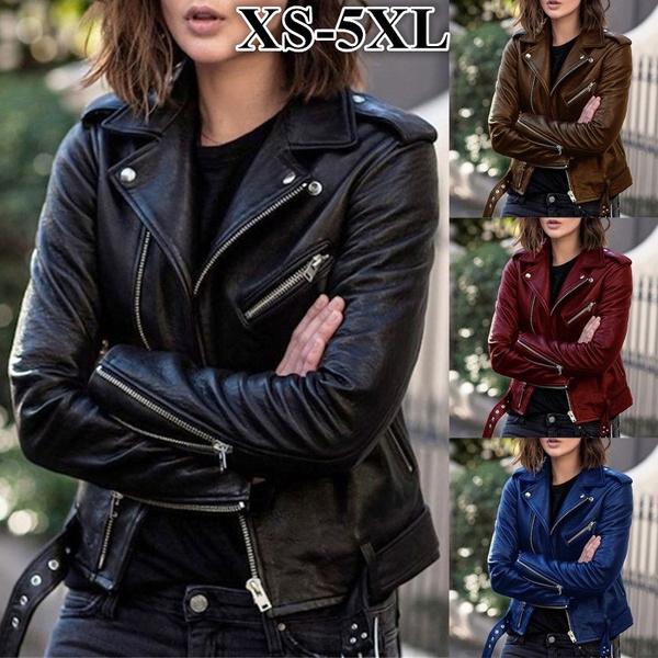 puleatherjacket, Plus Size, Casual Jackets, Long Sleeve