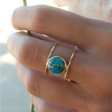 Vintage, Turquoise, wedding ring, gold