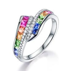 Cubic Zirconia, Sterling, rainbow, Jewelry