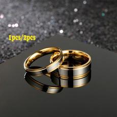 Couple Rings, Steel, 18k gold, Love
