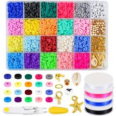 polymer, flatroundclaybead, Kit, Necklace