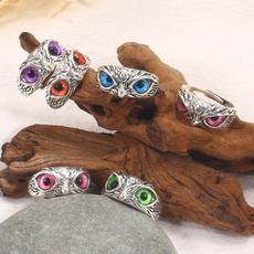 Sterling, Owl, crystal ring, zirconring