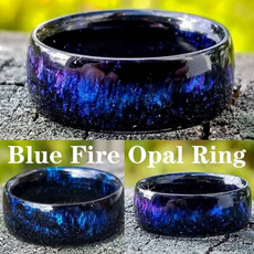 fireopalring, rainbow, blueandwhitestonering, Fashion