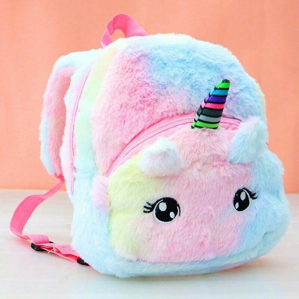 fluffy, cute, infantplushbackpackbag, fluffyunicornbackpack