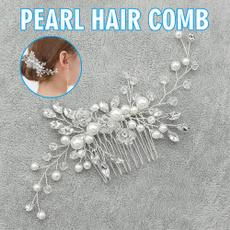 Combs, hairornament, Crystal, pearlhaircomb