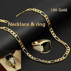 Gold Ring, Chain Necklace, Set, Chain