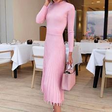 Fashion, pleated dress, Office, slim dress