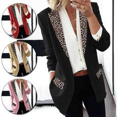 leopardblazer, Fashion, Outerwear, Long Sleeve