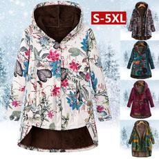 casual coat, Fleece, Plus Size, Floral