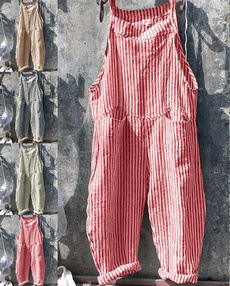 Plus Size, pants, Loose, Overalls