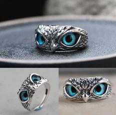 Blues, Owl, crystal ring, eye