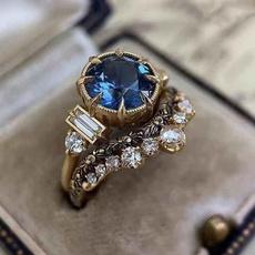 fashion women, Engagement Wedding Ring Set, gold, Blue Sapphire