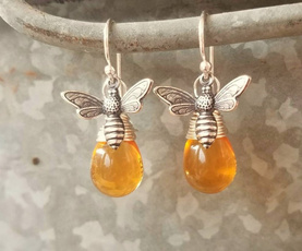 amber, Jewelry, Earring, Simple