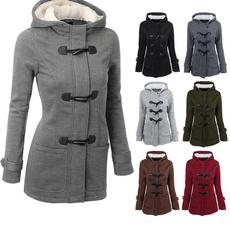 hooded, women coat, wool coat, Long Coat