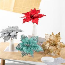 Flowers, Christmas, Glitter, Plastic