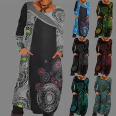 Vintage, printeddre, sleeve dress, dresssesforwomen
