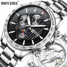 skeletondialwatch, seikoautomaticwatchesmen, Casual Watches, stainlesssteelstrapwatch