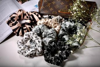 silk, scrunchiespack, brandscrunchie, setof8silksatinbrandedhairscrunchie