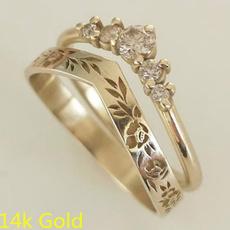 DIAMOND, Women Ring, vshapedring, gold