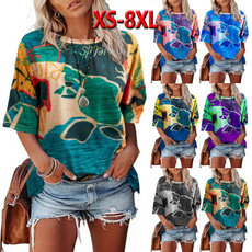 Summer, Plus size top, printed shirts, womens top