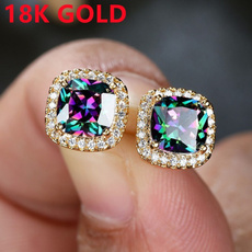 Sterling, DIAMOND, Gemstone Earrings, Stud Earring