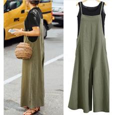 Summer, long skirt, solidtankjumpsuit, Tank