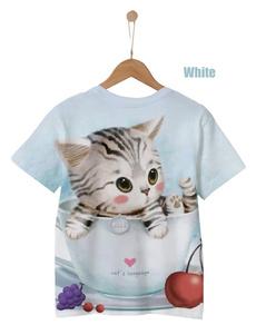 Summer, cute, cartooncat, kidstshirt
