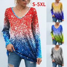 sleeve v-neck, fashion women, Plus Size, Tops & Blouses