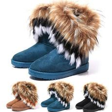 ankle boots, Plus Size, fur, Winter