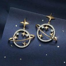 Moda masculina, Dangle Earring, Joyería de pavo reales, gold