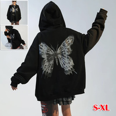 butterfly, Goth, hooded sweater, Grunge