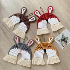 Tassels, wovenrabbitwallhanging, weavinganimalornament, walldecoration