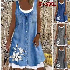 Summer, Plus Size, vest dress, Denim