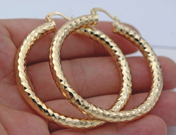 bighoopearring, yellow gold, Bling, Jewelry