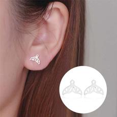 whaleearring, stainless steel earrings, simpleearring, brideearring